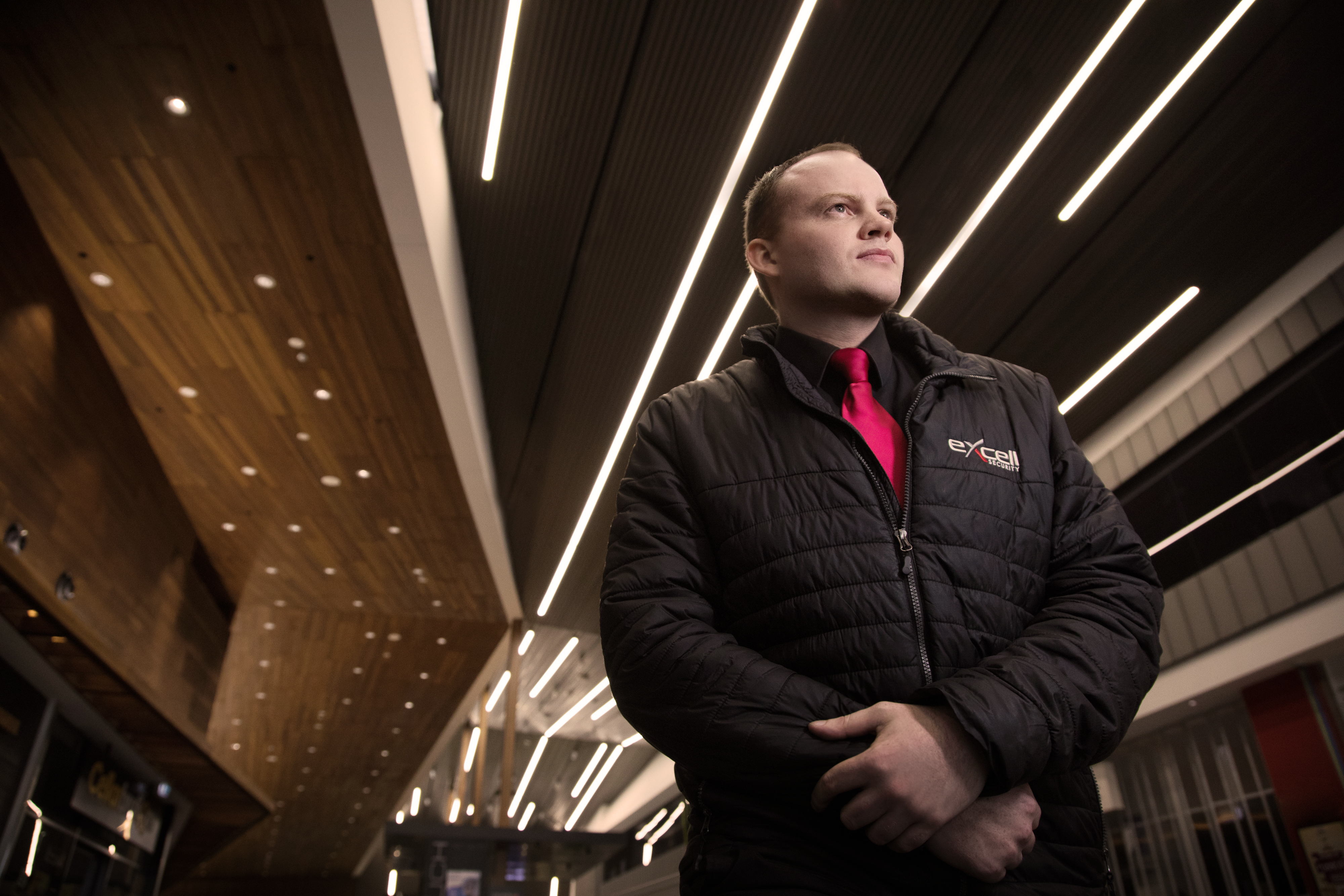 Male guard inside building