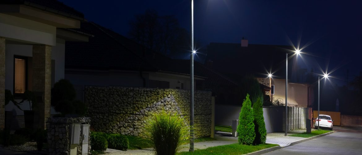 street in a residential area with modern streetlights